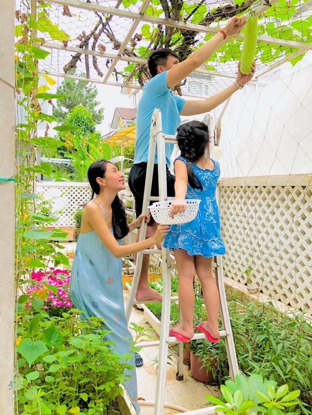 Cuộc sống giản đơn của vợ chồng Công Vinh - Thuỷ Tiên: Cùng nhau chăm sóc vườn rau sạch, tự tay thu hoạch củ quả, ăn không hết đem tặng hàng xóm - Ảnh 7.