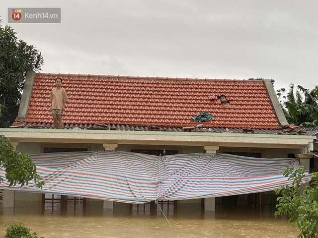 Hơn 2 tuần chịu trận lũ lịch sử, người dân Quảng Bình vẫn phải leo nóc nhà, bơi giữa dòng nước lũ cầu cứu đồ ăn - Ảnh 12.