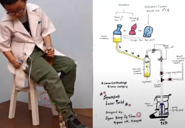Cậu bé 9 tuổi người Malaysia chiến thắng cuộc thi thiết kế toilet trên Mặt trăng của NASA - Ảnh 2.