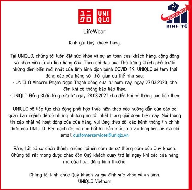 Chưa kịp triển khai bán online, Uniqlo đã phải đóng cả 2 cửa hàng tại Việt Nam vì Covid-19 - Ảnh 1.