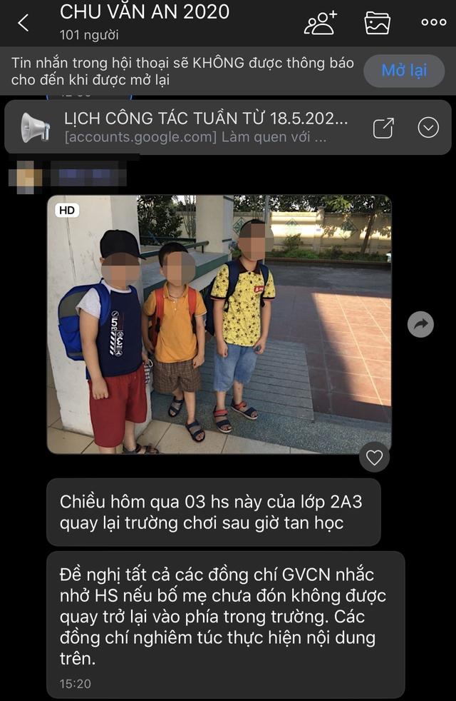 Phụ huynh ở Hà Nội phản ánh cô giáo không cho học sinh quay lại trong trường sau giờ tan học khiến con phải lang thang ngoài đường  - Ảnh 4.