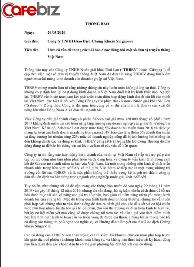 Công ty mẹ của Sabeco - THAIBEV: Chúng tôi không có ý định bán lại hoạt động kinh doanh ở Việt Nam dưới bất kỳ hình thức nào - Ảnh 1.