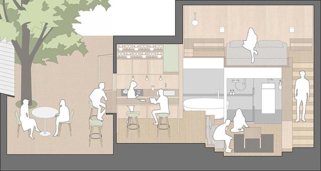 Cận cảnh căn hộ 25m2 nhưng có cả sân và quán bar, vô cùng hiện đại, tiện nghi - Ảnh 4.