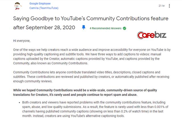 """Bị người dùng xuyên tạc bậy bạ, Youtube sắp """"khai tử"""" tính năng cho cộng đồng đóng góp phụ đề - Ảnh 1."""
