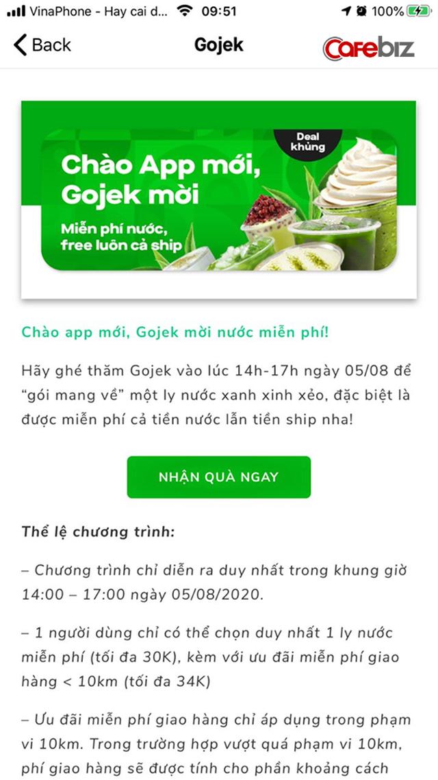 """Tạm biệt GoViet, Gojek """"chơi lớn"""" tặng đồ uống, khuyến mãi chuyến đi chỉ 1.000 đồng cho người dùng - Ảnh 1."""