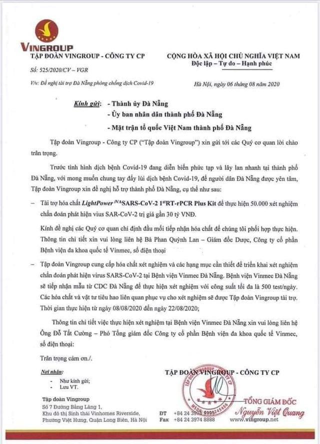 Sau 100 máy thở, Vingroup tiếp tục tài trợ hóa chất cho Đà Nẵng thực hiện 50.000 xét nghiệm trị giá 30 tỷ đồng - Ảnh 1.