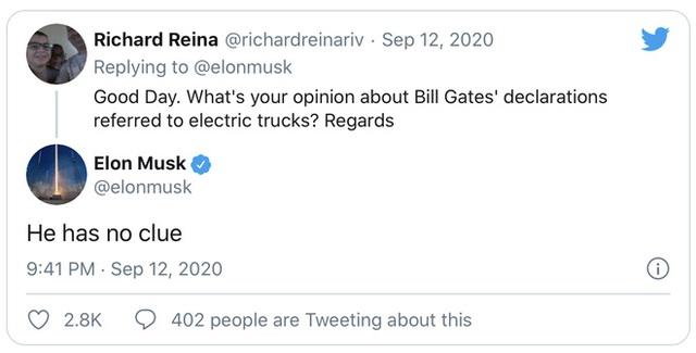 Elon Musk phản pháo Bill Gates, nói nhà sáng lập Microsoft chẳng biết gì về xe tải chạy điện - Ảnh 1.