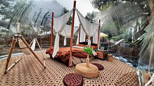Trải nghiệm đi nghỉ cuối tuần hú hồn ở ngoại ô Hà Nội: Book villa 6 triệu/ đêm có nhà bong bóng ảo diệu giống Bali, khách ngơ ngác nhận phòng y như cái lều vịt - Ảnh 6.