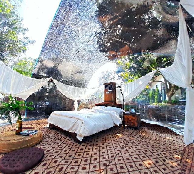 Trải nghiệm đi nghỉ cuối tuần hú hồn ở ngoại ô Hà Nội: Book villa 6 triệu/ đêm có nhà bong bóng ảo diệu giống Bali, khách ngơ ngác nhận phòng y như cái lều vịt - Ảnh 8.