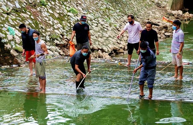 Hà Nội: Sông Tô Lịch bất ngờ chuyển màu xanh ngắt, người dân mang theo bao bắt hàng trăm cân cá đem về - Ảnh 6.