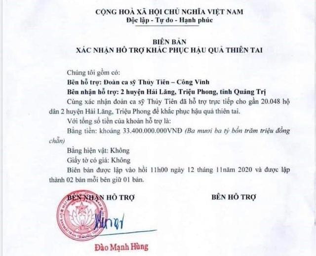 Thủy Tiên đã được các tỉnh miền Trung xác nhận số tiền làm từ thiện là bao nhiêu sau khi công an vào cuộc? - Ảnh 1.