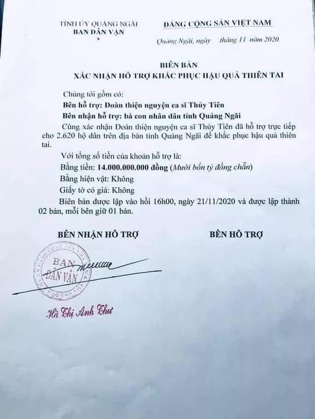 Thủy Tiên đã được các tỉnh miền Trung xác nhận số tiền làm từ thiện là bao nhiêu sau khi công an vào cuộc? - Ảnh 2.