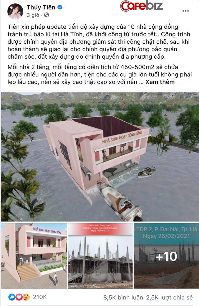 Hứa là làm, Thuỷ Tiên khoe đang xây 10 nhà cộng đồng tránh lũ cho người dân miền Trung - Ảnh 1.