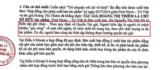 Trước lùm xùm tranh chấp bản quyền sách với First News, Thái Hà Books lên tiếng: Tác giả mới là chủ sở hữu tác phẩm, người chấp bút chỉ gia công về mặt chữ nghĩa, không được hưởng quyền tác giả - Ảnh 1.