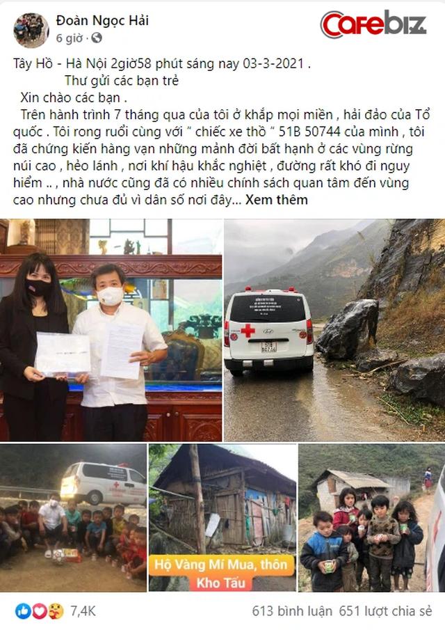 Mở QUỸ ĐỒNG BÀO, ông Đoàn Ngọc Hải sẵn sàng nhận quảng cáo trên thân xe cứu thương, làm bồi bàn, xách cặp và lái xe cho giám đốc doanh nghiệp... để kiếm nhiều tiền cho quỹ - Ảnh 1.