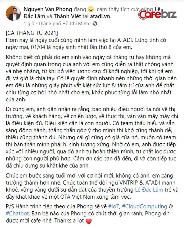 Founder Nguyễn Văn Phong rời startup sau hơn 2 năm bán Atadi cho VnTrip: 'Thời gian bên em đều là những giây phút vắt kiệt sức lực và tâm trí của anh để chắt chiu từng cơ hội nhỏ nhất' - Ảnh 1.