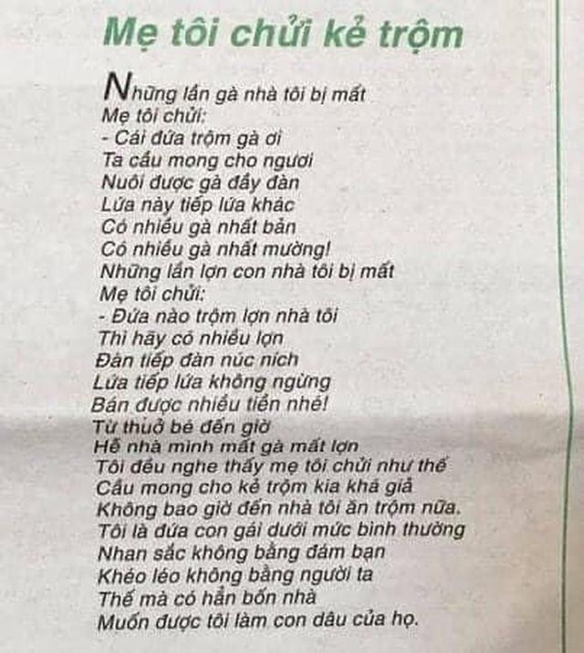 Bài thơ Mẹ tôi chửi kẻ trộm vừa được trao giải cao nhất cuộc thi thơ báo Văn Nghệ 2019-2020 gây tranh luận gay gắt  - Ảnh 1.