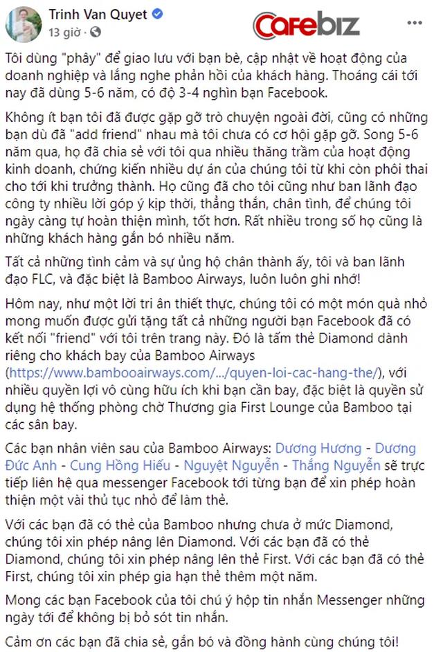 """Chơi lớn như Chủ tịch FLC Trịnh Văn Quyết: Tặng thẻ kim cương Bamboo Airways cho 4.000 bạn bè trên Facebook, nếu đã có thẻ Kim Cương """"auto"""" lên hạng Nhất - Ảnh 1."""