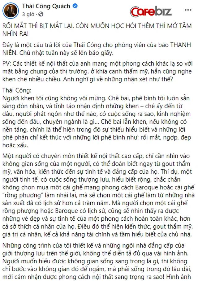 Khoe biệt thự lộng lẫy, xa hoa nhưng bị chê rối mắt, NTK Thái Công phản pháo: Rối mắt thì bịt mắt lại. Còn muốn học hỏi thêm thì mở tầm nhìn ra! - Ảnh 2.