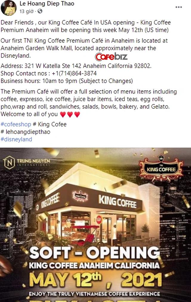 """Sau trạng thái """"gục ngã"""", bà Lê Hoàng Diệp Thảo đã đứng dậy, tuyên bố chuyển bị khai trương quán cà phê King Coffee đầu tiên tại Mỹ - Ảnh 1."""