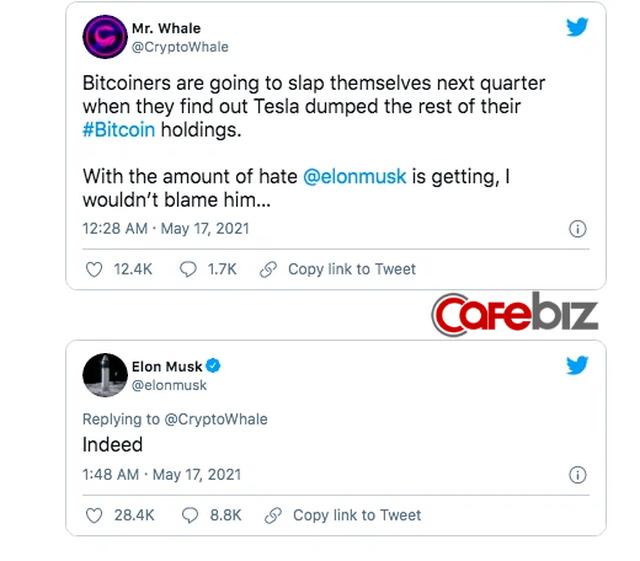 Nhà đầu tư bất lực nhìn Elon Musk tiếp tục thao túng thị trường: Tweet ám chỉ Tesla đã bán hết Bitcoin, giá đồng tiền số chạm đáy - Ảnh 2.