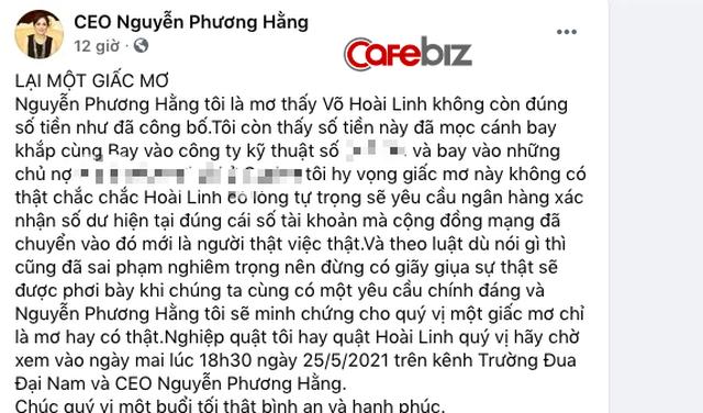 """Bà Nguyễn Phương Hằng lại tuyên bố vừa """"nằm mơ"""" thấy số tiền trong tài khoản từ thiện của NS Hoài Linh không như công bố, đã """"mọc cánh"""" bay đi? - Ảnh 1."""