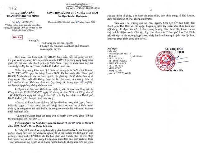 Từ 18h ngày 7/5, TP.HCM tạm dừng các hoạt động tập trung trên 30 người  - Ảnh 1.