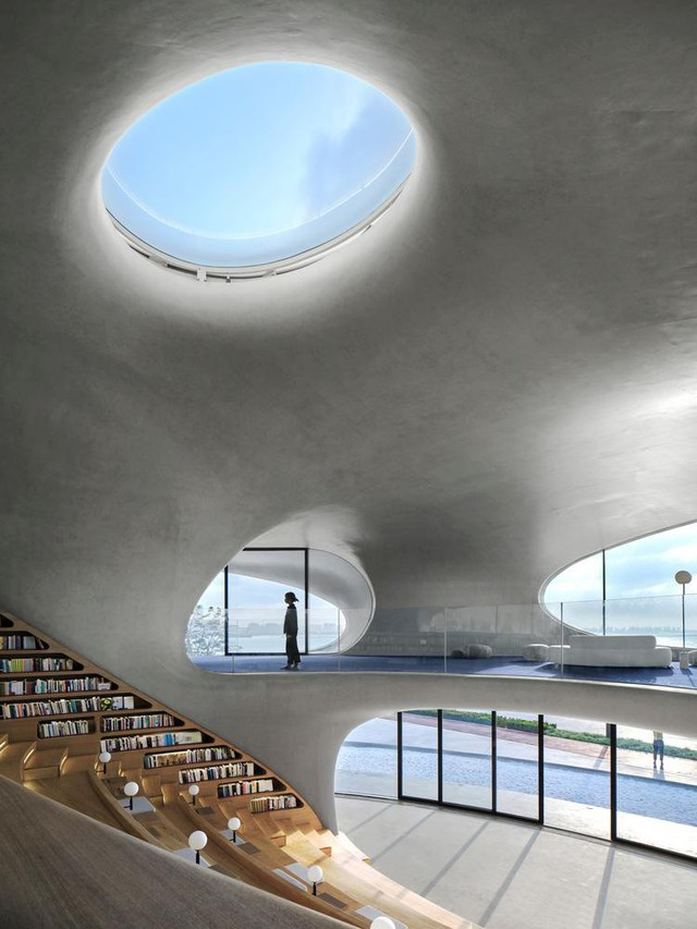 Thư viện nằm bên bờ biển có cấu trúc độc lạ, có một không hai - Ảnh 5.