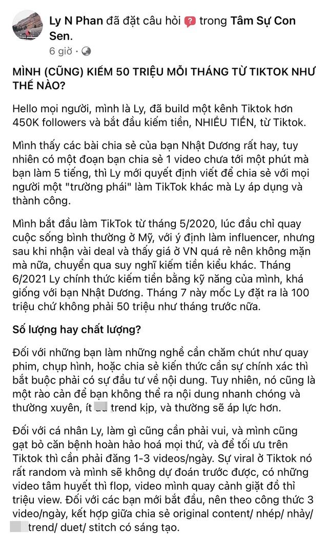 Cô gái chia sẻ cách kiếm 50 triệu mỗi tháng từ Tiktok và nhận hàng loạt tranh luận của dân mạng vì nguyên do này - Ảnh 2.