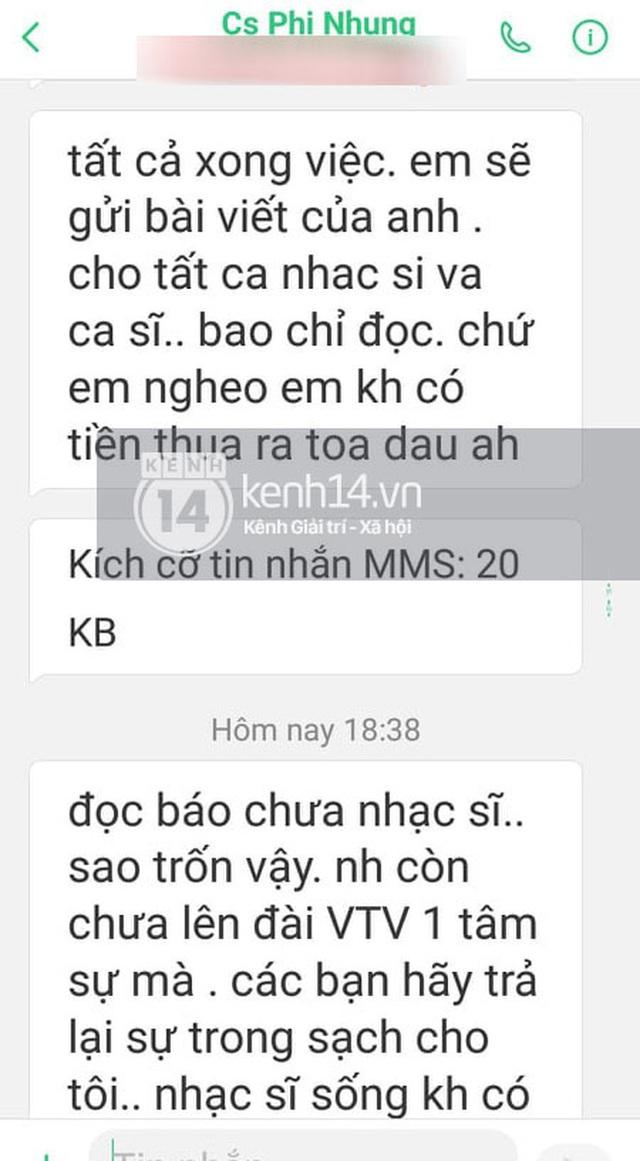 Độc quyền: Nhạc sĩ Chim Trắng Mồ Côi tung tin nhắn chứng minh bị Phi Nhung uy hiếp, kể ngọn nguồn và lời xin lỗi bất ngờ sau đó - Ảnh 1.