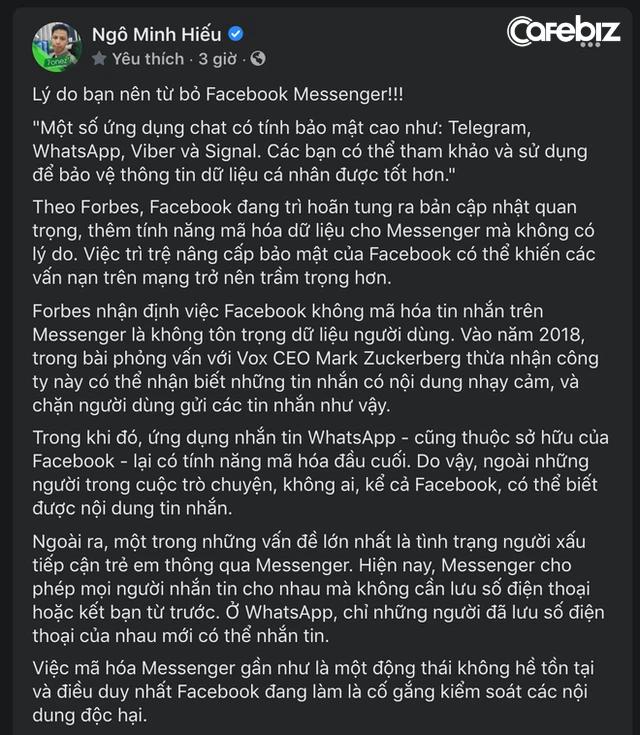 Hiếu PC cấp thiết khuyên người dùng từ bỏ nền tảng nhắn tin hàng đầu hiện nay - Messenger: Chuyện gì đã xảy ra? - Ảnh 2.