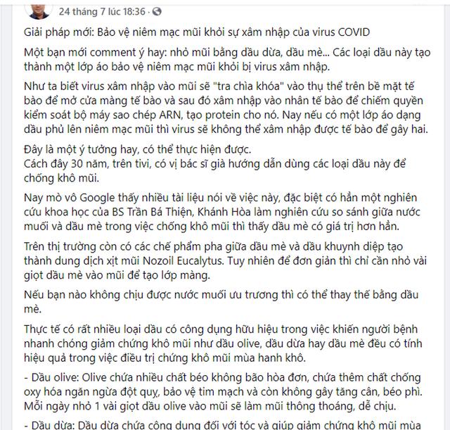 Bác sĩ lên Facebook xúi dân dùng dầu mè, dầu dừa nhỏ mũi tránh COVID-19, chuyên gia gay gắt: Chỉ thần y mới nghĩ ra được! - Ảnh 1.