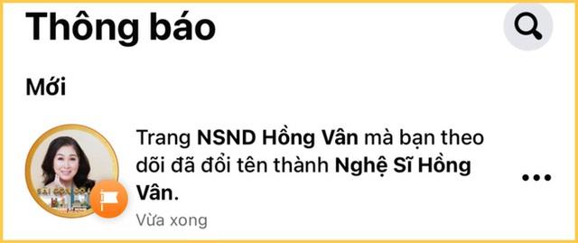 Fanpage Hồng Vân bất ngờ bỏ danh hiệu Nghệ sĩ nhân dân ra khỏi tên: Chuyện gì đã xảy ra? - Ảnh 1.