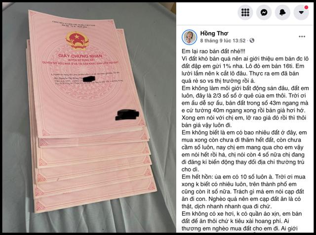 YouTuber Thơ Nguyễn bỗng dưng khoe đang sở hữu 10 quyển sổ đỏ, đang rao bán lô đất 16 tỷ để tiêu - Ảnh 1.