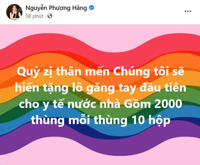 Hứa là làm: Giữa ồn ào kiện tụng, bà Phương Hằng tuyên bố hiến tặng lô găng tay đầu tiên của Đại Nam cho tuyến đầu chống dịch - Ảnh 1.