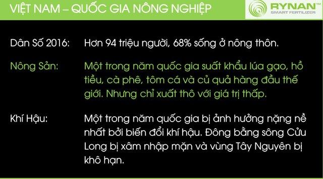 Theo tài liệu mà ông Mỹ đưa ra, Việt Nam có 68% người ở nông thôn trong tổng số 94 triệu dân. Là một trong 5 quốc gia xuất khẩu lúa gạo, hồ tiêu, cafe, tôm và củ quả hàng đầu thế giới nhưng giá trị thấp bởi chủ yếu là xuất thô.