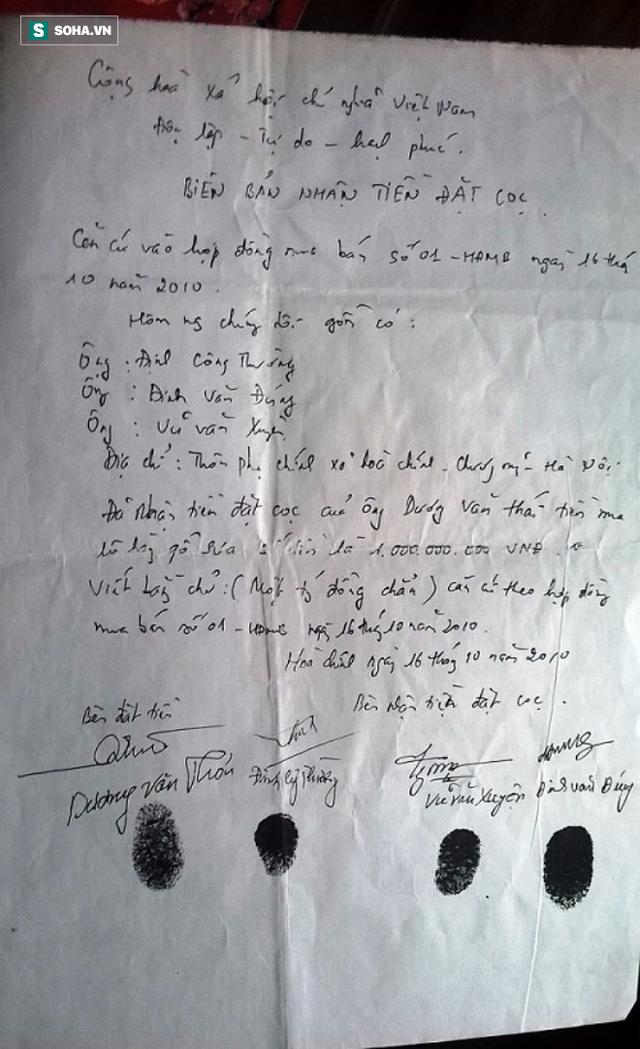 Biên bản nhận tiền đặt cọc của ông Dương Văn Thái.
