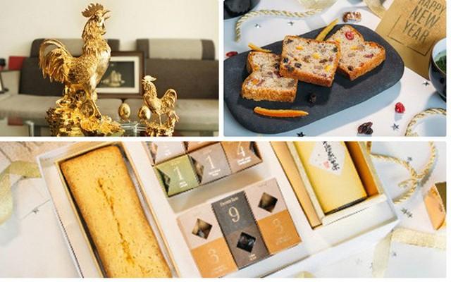 Dù còn một tháng nữa mới đến Tết Đinh Dậu, các mặt hàng biếu tặng sử dụng vàng thật từ đồ ăn đến lưu niệm đang được tiêu thụ tốt