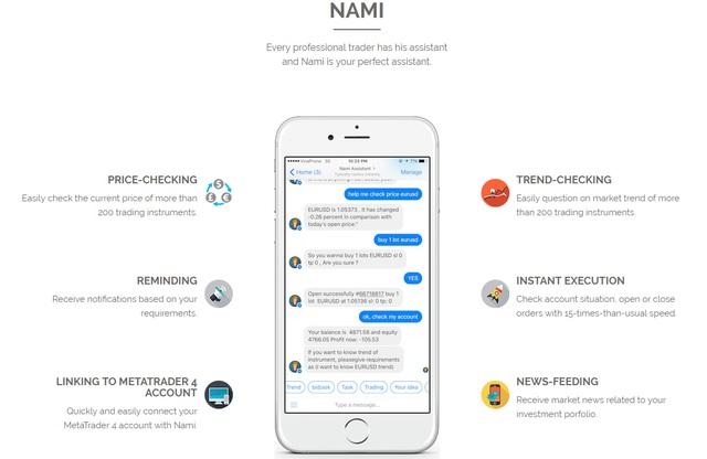 Giao diện chat với Nami và các tính năng cơ bản.