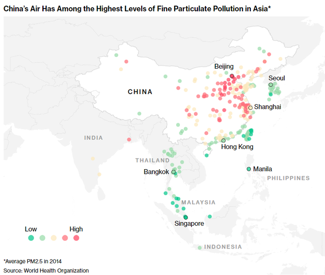 Trung Quốc có tỷ lệ ô nhiễm không khí thuộc hàng cao nhất Châu Á.