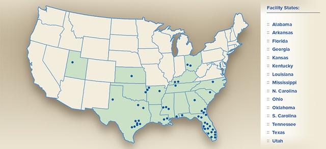 Số lượng nhà máy, trang trại, cơ sở sản xuất... của Cal Maine phủ rộng tại Mỹ.