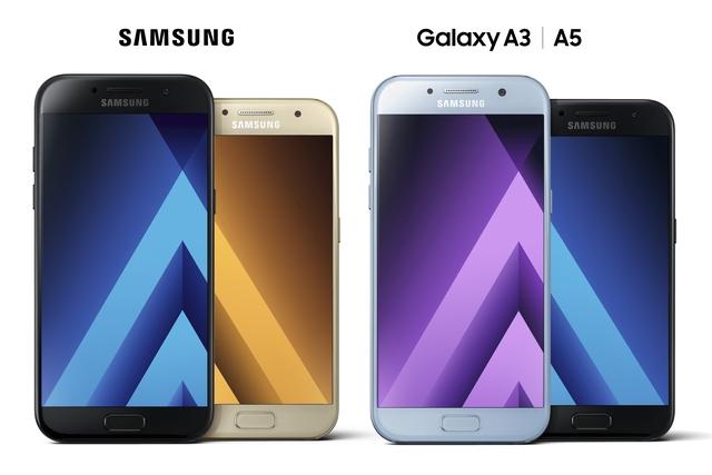 So kích thước Galaxy A5 và Galaxy A3 (Galaxy A5 lớn hơn).
