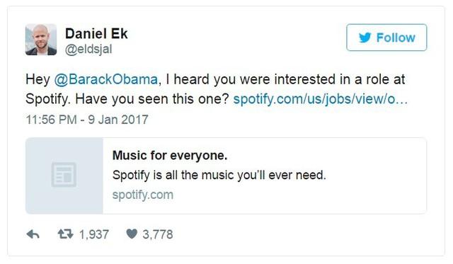 Daniel Ek, giám đốc điều hành của Spotify, ngỏ ý muốn tuyển dụng Obama vào làm việc tại công ty của ông. Ảnh chụp màn hình.