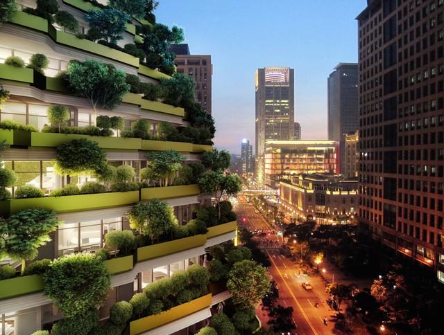 Dãy ban công tòa nhà sẽ được bao phủ bởi cây xanh, phần nào có nhiệm vụ làm sạch không khí cho thành phố.
