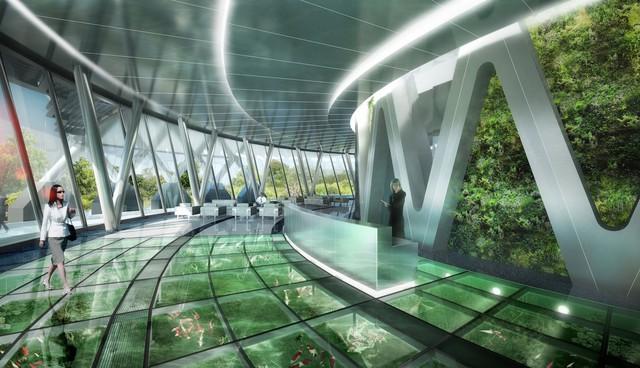 """Bên trong tòa nhà cũng sẽ được trang trí bằng các loại cây, thông qua sàn kính, chúng ta có thể chiêm ngưỡng kiệt tác """"tháp xanh"""" này ngay từ bên trong."""