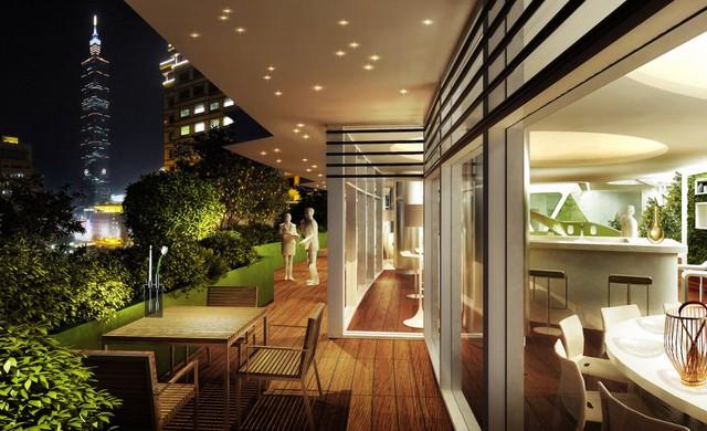 Và 2 căn penthouse rộng tới 550m2 với góc nhìn thành phố Đài Bắc lung linh.