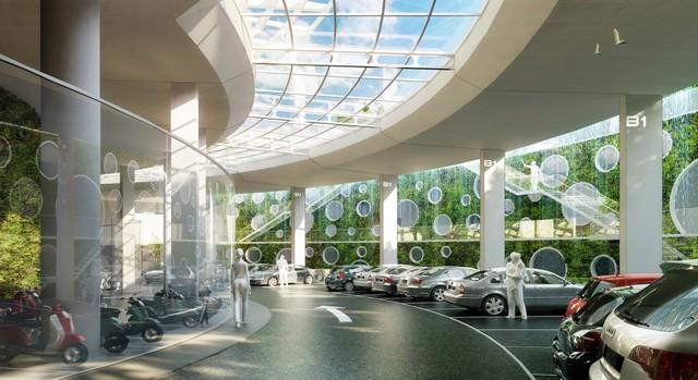 Bãi đậu, giữ xe có thiết kế các khoang hút gió, mang lại không khí thoáng đãng cho khách.