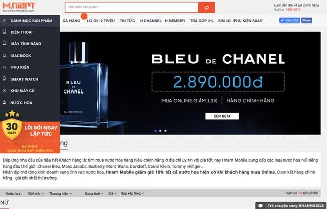 Trang bán nước hoa của Hnam Mobile - Ảnh chụp màn hình