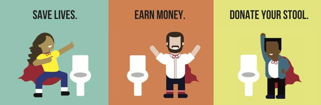Thông điệp được OpenBiome đưa ra: Bảo vệ cuộc sống - Kiếm tiền - Quyên góp phân của bạn