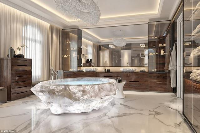 Choáng ngợp với bồn tắm bằng đá quý thạch anh trong biệt thự triệu đô của giới siêu giàu - Ảnh 1.